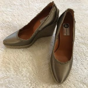 Lanvin Espadrille Rope Wedges Satin Olive Green 37